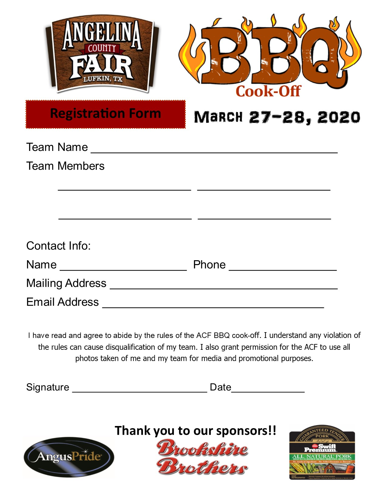 BBQ cookoff registration form